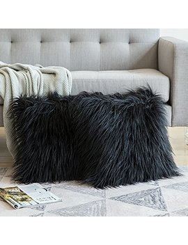 Miulee Pack Of 2 Decorative New Luxury Series Style Black Faux Fur Throw Pillow Case Cushion Cover For Sofa Bedroom Car 18 X 18 Inch 45 X 45 Cm by Miulee