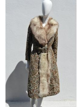Vintage 70's Long Tapestry Baroque Floral Overcoat Fox Fur Trim Glam Carpet Tailored  Coat Fur Collar Size Medium by Etsy
