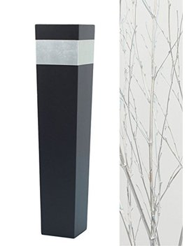 """Green Floral Crafts 30"""" Tapered Tall Black Floor Vase   Silver Accent & Diy Branches Kit by Green Floral Crafts"""