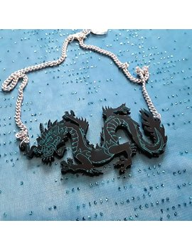 Multi Color Dragon Necklace With Silver Chain And Clasp With Extender , Acrylic, Laser Cut, Plastic Jewelry, by Etsy