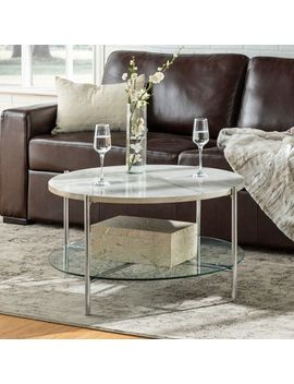 White Faux Marble & Chrome Round Coffee Table by Pier1 Imports