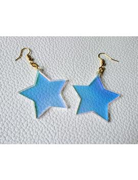 Radiant Star Earrings | Laser Cut Acrylic Star Dangle Earrings | Holographic Colour Changing | Kitsch Jewellery by Etsy