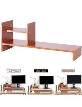 Wood Monitor Stand Riser Laptop Cellphone Tv Printer Stand With 2 Tier Desktop Storage Organizer Patented by Yosoo