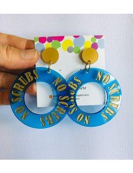 Blue And Gold Lasercut Acrylic No Scrubs Earrings / Acrylic Hoop Earrings / Transparent Blue Hoop by Etsy