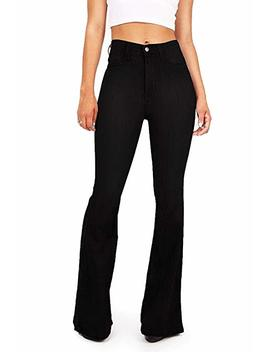 Olive K Women's Denim High Waisted Stretchy Skinny And Flare Bell Bottom Jeans by Olive K