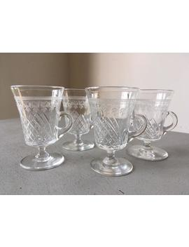 Antique Edwardian Pall Mall / Lady Hamilton Cut & Etched Crystal Custard Cups, Glasses by Etsy