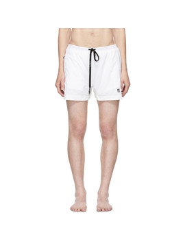 White Embroidered Logo Swim Shorts by 11 By Boris Bidjan Saberi