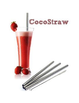 4 Stainless Steel Wide Smoothie Straws   Coco Straw Large Straight Frozen Drink Straw   4 Pack + Cleaning Brush (4) by Coco Straw