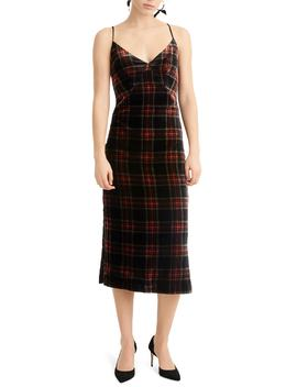 Spaghetti Strap Midi Dress In Velvet Stewart Tartan by J.Crew