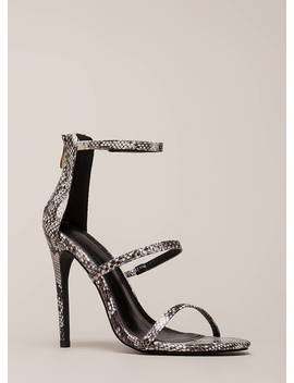 Golden Age Strappy Faux Snake Heels by Go Jane