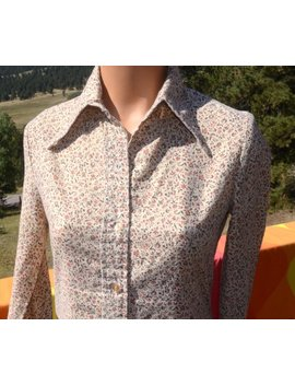 Vintage 70s Blouse Floral Women's Shirt Button Down Daddy's Money Butterfly Collar Preppy Medium 11 by Etsy
