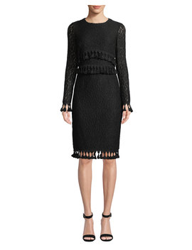 Lace Long Sleeve & Tassel Dress by Badgley Mischka Collection