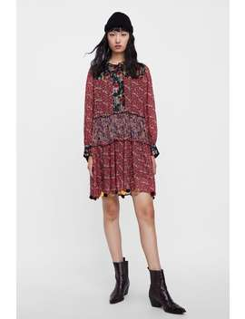 Patchwork Print Dress With Pompoms  View All Dresses by Zara