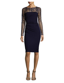 Long Sleeve Jersey Illusion Cocktail Dress, Dark Navy by David Meister