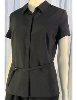 Vintage Ann Taylor Black Ss Business  Blouse Size 12 P by Etsy