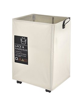 "Caroeas Rolling Laundry Cart, 22"" Pro Laundry Hamper Waterproof With Big Card Pocket & Leather Handle & Brake Square Laundry Basket Collapsible Laundry Bin Breathable Mesh Cover (Pro 22"",Beige) by Caroeas"