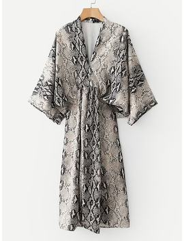 Snakeskin Print Kimono Sleeve Dress by Sheinside