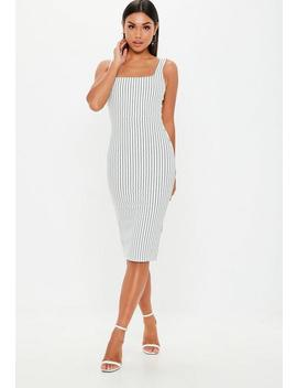 White Stripe Square Neck Midi Dress by Missguided