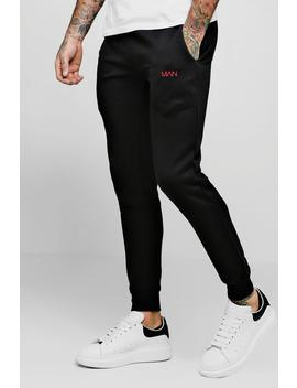 Man Dash Embroidered Skinny Joggers by Boohoo