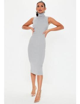 Grey Roll Neck Sleeveless Knitted Midi Dress by Missguided