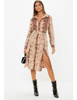 Snake Print Button Down Midi Shirt Dress by Missguided