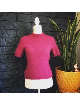 Vintage Limited 90s Mohair Sweater / Clueless Sweater / Short Sleeve Sweater / Vintage 90s Sweater / Pink Mohair Sweater / Mock Neck Sweater by Etsy