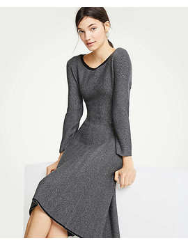 Petite Herringbone Flounce Sweater Dress by Ann Taylor