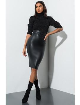 Better Love Faux Leather Midi Skirt by Akira