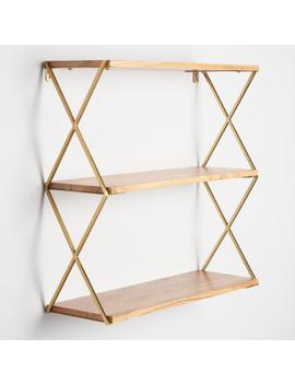 Natural Wood And Gold 3 Tier Wall Shelf by World Market