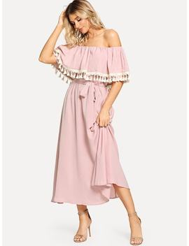 Off Shoulder Tassel Embellished Self Belted Dress by Shein