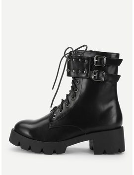 Ankle Buckle Lace Up Boots by Romwe