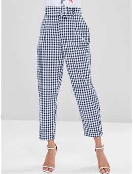 Gingham Pockets Belted High Waisted Pants   Multi M by Zaful