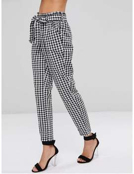 High Waisted Gingham Paper Bag Pants   Multi M by Zaful