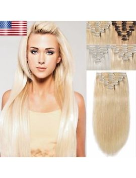 "Long 18"" 20"" 22"" Clip In Remy Human Hair Extensions Full Head Cheap Blonde Us C1 by R W"
