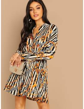 Greek Fret & Chain Print Pleated Shirt Dress by Shein