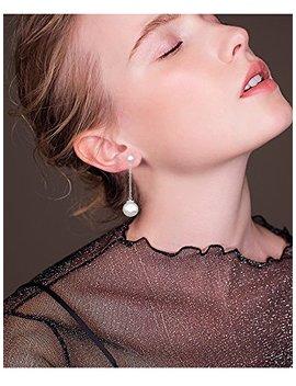 Dokreil Double Pearl Stud Long Drop Women's Dangle Earrings 925 Sterling Silver by Dokreil