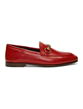 Red Leather Horsebit Loafers by Gucci