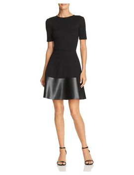 Faux Leather Hem Dress   100 Percents Exclusive by Aqua