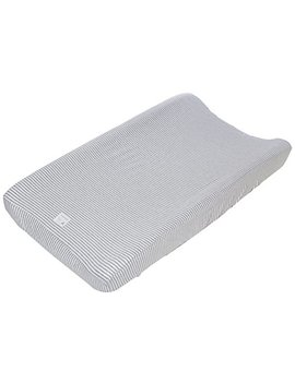 """Burt's Bees Baby   Changing Pad Cover, 100 Percents Organic Cotton Changing Pad Liner For Standard 16"""" X 32"""" Baby Changing Mats (Heather Grey Thin Stripes) by Burt's Bees Baby"""