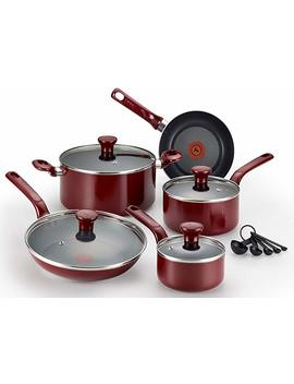 T Fal C514 Se Excite Nonstick Thermo Spot Dishwasher Safe Oven Safe Pfoa Free Cookware Set, 14 Piece, Red by T Fal