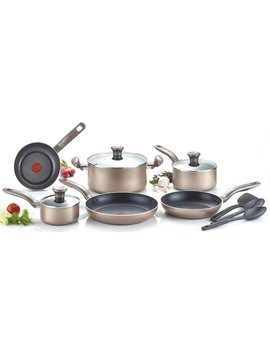 T Fal C067 Sc Metallics Nonstick Thermo Spot Heat Indicator Cookware Set, 12 Piece, Bronze by T Fal