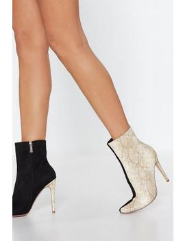 Watch Your Two Tone Snake Boot by Nasty Gal