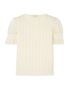 Broderie Anglaise Cotton And Silk Blend Georgette And Stretch Cotton Jersey Top by Tory Burch