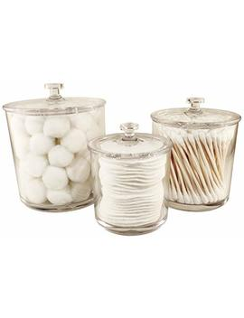 Neatopolis Premium Acrylic Apothecary Jars Set Of 3 | Crystal Clear Plastic Storage Canisters With Lids | Bathroom, Kitchen, Laundry, Craft Room, Office, Pet Station, Or Medical Station by Neatopolis