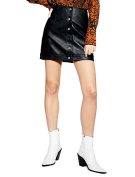 Dixie Faux Leather Miniskirt by Topshop