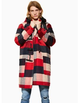 Red Check Duffle Coat by Topman