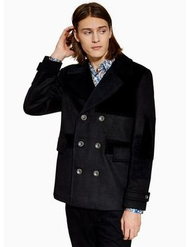 Black Patchwork Pea Coat With Wool by Topman