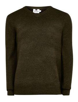 Khaki V Neck Soft Knitted Jumper by Topman