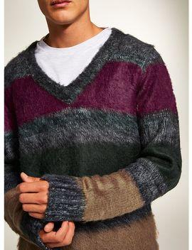 Gray Stripe Brush Sweater by Topman