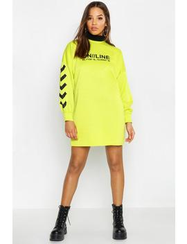 Online Printed Balloon Sleeve Sweat Dress by Boohoo